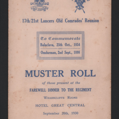 Muster Roll 17th/21st Lancers Old Comrade's Reunion